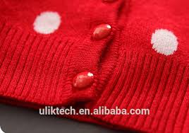 wholesale red cute baby girls cardigan polk dot flower knitted