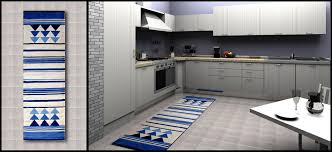 Modern Kitchen Rugs Contemporary Blue Striped Rugs Decoration On Floor Including