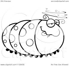 cartoon clipart of an outlined hungry caterpillar black and