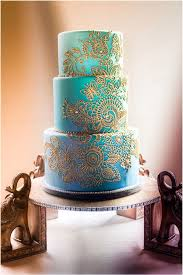 tiffany blue and gold lace wedding cake deer pearl flowers