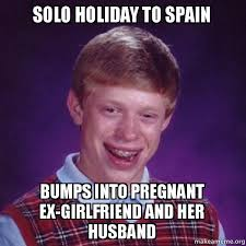 solo holiday to spain bumps into pregnant ex girlfriend and her