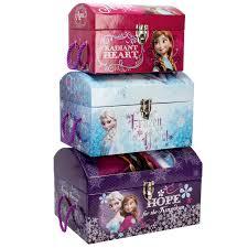disney frozen toy boxes set of 3 trunks bedroom decor accessories