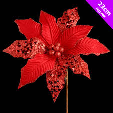 5 x large red poinsettia christmas pick decoration tree clips