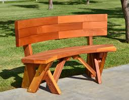 Round Redwood Picnic Table by Fullback Arc Wood Picnic Bench Custom Redwood Seating