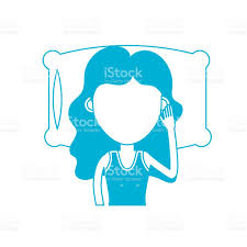 silhouette woman with hairstyle desing sleeping stock vector art