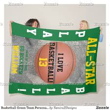 one of a basketball team personalized green fleece blankets