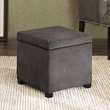 Small Storage Ottoman Small Storage Ottoman Grey Fabric Square Cube Cushion Seat Stylish