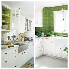 painting inside of kitchen cabinets green and white kitchen farmhouse sink green subway tile