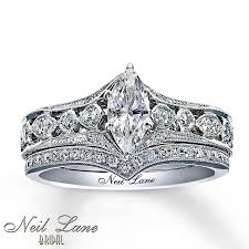 neil bridal set diamond bridal set 7 8 ct tw marquise cut 14k white gold