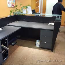 Reception Desk With Transaction Counter Contemporary 78 X 96 Reception Desk W Glass Transaction Counter
