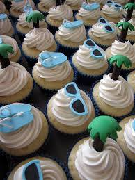 beach themed wedding cupcakes perfect for a bridal shower too
