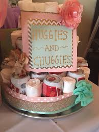 diaper beer cake for a couples baby shower the bows are hair