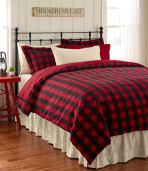 red buffalo plaid twin single quilt set lodge cabin check