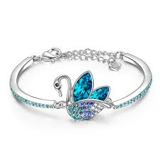 great gifts for women ladycolour swan dance bangle bracelets swarovski crystals animal