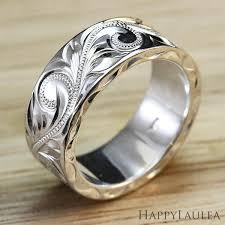 custom wedding ring hawaiian engraved silver ring custom wedding rings