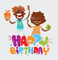 happy birthday card with black boy and black stock vector art