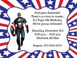 Customized Birthday Invitation Cards Free Captain America Birthday Invitations Kawaiitheo Com