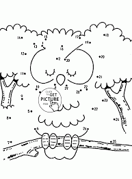 owl connect the dots coloring pages for kids dot to dots