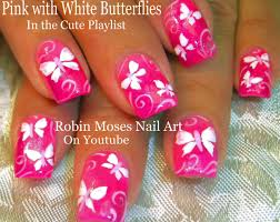 robin moses nail neon pink with white butterfly nail