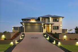 driveway lighting landscape contemporary with concrete wall