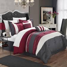 Comforter Bed In A Bag Sets Carlton Burgundy Grey U0026 White 10 Piece Embroidery Comforter Bed