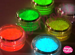 glow in the dark grainy dust set of 6 funny coloured grains in