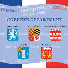 Map Of France Cities by Official Emblems Of Cities Of French Department Correze Stock
