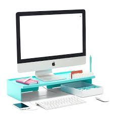 Colorful Desk Accessories Colorful Desk Accessories Aqua Monitor Riser Modern Desk