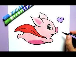 draw cute flying pig step step