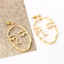 gold earrings studs fashion jewelry retro earrings studs gold abstract