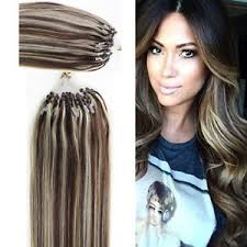 micro ring extensions 7a medium brown ombre micro ring loop remy human hair