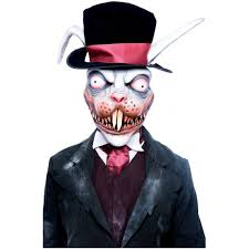 white rabbit halloween costume wicked wonderland white rabbit mask scary deranged horror bunny
