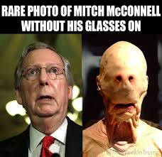 Mitch Meme - rare photo of mitch mcconnell without his glasses on