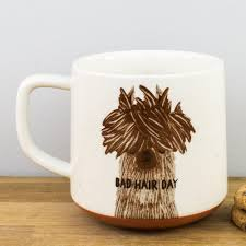 speckled finish good bad hair day llama large mug by creative tops