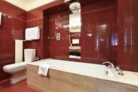 red bathroom walls