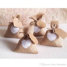 burlap wedding favor bags 2015 new year wedding candy bag with diy kraft tag burlap pouch