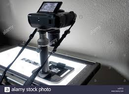 camera copy stand with lights film copying and digitizing rig leica beoon and digital camera used