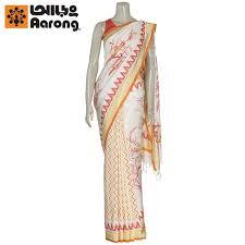 arong saree aarong ivory and orange painted and printed silk saree price