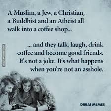 Jew Meme - a muslim a jew a christian a buddhist and an atheist all walk