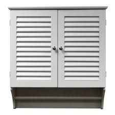white painted pine wood bathroom wall cabinet decor with shutter