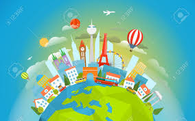 signts around the world travel concept vector illustration
