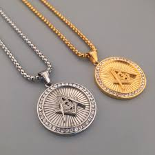 titanium chain link necklace images New dope rhinestone iced out freemason round pendant titanium jpg