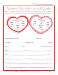 valentine u0027s day worksheet adjectives and adverbs