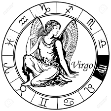 virgo astrological zodiac sign black and white image royalty free