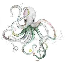 octopus art octopus print art print watercolor print