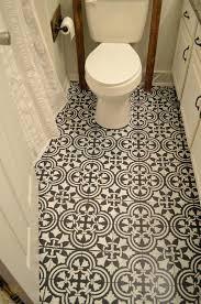 chalk paint and stenciling on a linoleum bathroom floorfloor tile