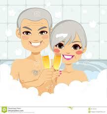 champagne toast cartoon senior couple bubble bath stock vector image 41407812