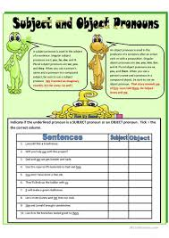 Subject Pronouns Worksheet Subject And Object Pronouns Worksheet Free Esl Printable