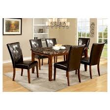 iohomes 7pc faux marble dining table set wood antique oak target