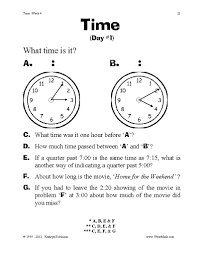 5th Grade Grammar Worksheet Teaching Time Worksheets 3rd 4th 5th Grade Centers